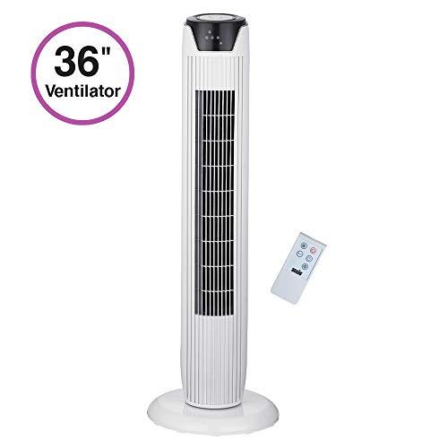 ANSIO Oszillierender Turmventilator mit Fernsteuerung- Säulenventilator - 90CM Standventilator - Ventilator - 3-stufigem Windmodus mit 3 Drehzahlen und langem Kabel(1,75m) Weiß -2 Jahre Garantie