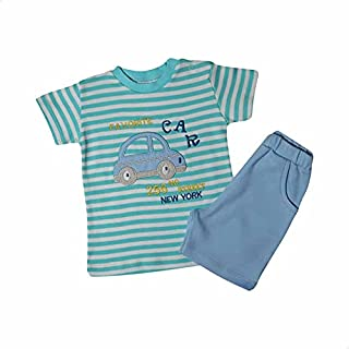 Papillon Embroidered Car Short Sleeves T-Shirt with Elastic Waist Shorts Pajama Set for Boys, 2 Pieces