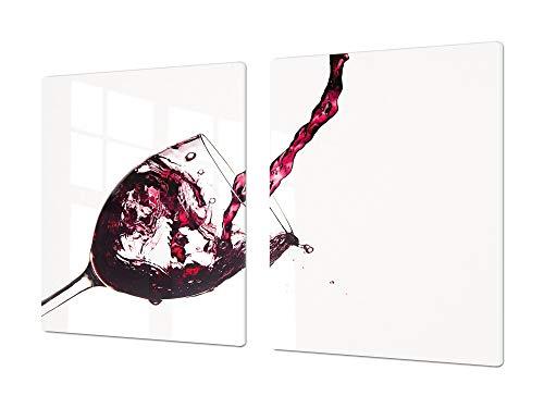 Cubre vitrocerámica para cerámicas de Grandes Dimensiones o Tabla de Cortar de Cristal Templado – UNA Pieza (80 x 52 cm) o Dos Piezas (40 x 52 cm) Serie de Vinos DD04