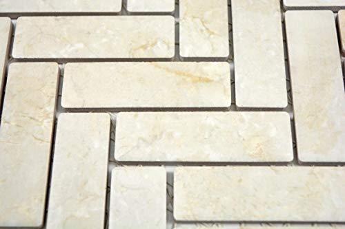 Mozaïek tegel keramiek visgraat steenlook lichtbeige tegelspiegel keuken MOS24-SO54_m