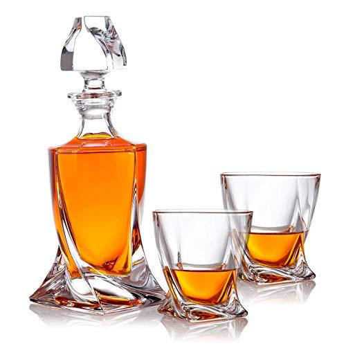 polar-effekt 3-TLG Karaffe Gläser Whisky-Set - Geschenkset aus Glas - Whiskey Dekanter 800ml mit 2 Whiskygläser 300ml für Rum, Scotch, Cognac - Geschenk-Idee für Männer - mit Geschenkbox