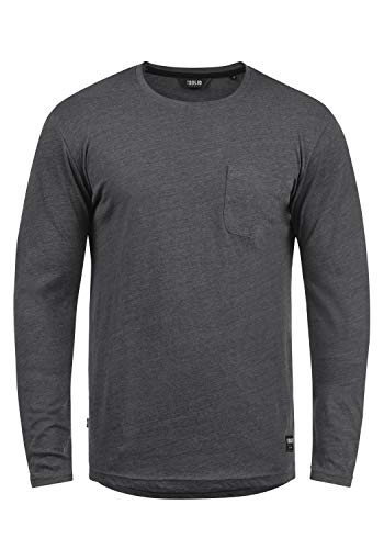 !Solid Bobo Herren Longsleeve Langarmshirt Shirt Mit Rundhalskragen, Größe:L, Farbe:Dark Grey Melange (8288)