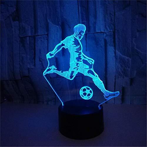 LBJZD 3D Night Light 7 Colors Change 3D Led Lamp Touch Sensor Play Football 3D Night Light for Soccer Sports Fans Gift Children Bedroom Decor Black Base
