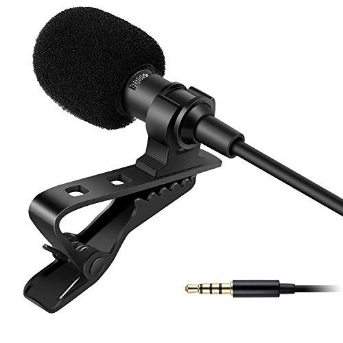 SUNMI Dynamic Lapel Collar Mic Voice Recording Lavalier Microphone for Singing YouTube, Black