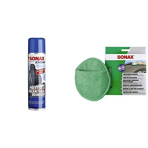 SONAX XTREME Polster- & Alcantara®Reiniger (400 ml) reinigt gründlich und schonend alle Textilien im Innenraum & MicrofaserPflegePad (1 Stück) für gleichmäßiges Auftragen von Kunststoffpflegemitteln