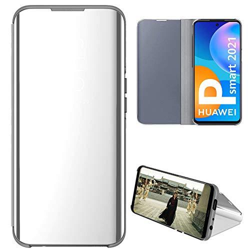 Eabhulie Huawei P Smart 2021 Funda, Cubierta de Espejo Galvanoplastia Cartera Flip Case Cover con Soporte Plegable para Huawei P Smart 2021 Plata