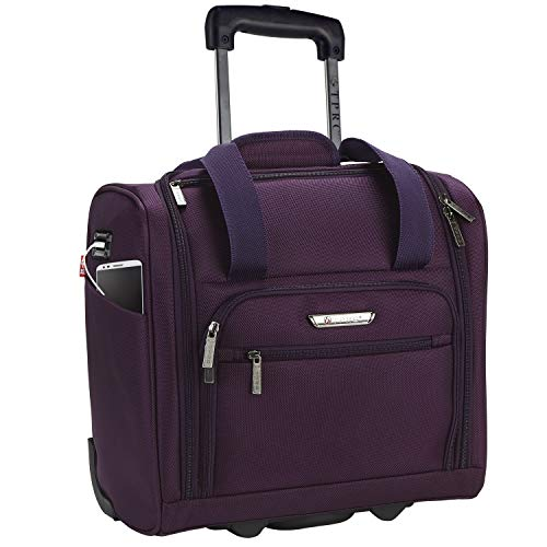 TPRC 15' Smart Under Seat Carry-On Luggage with USB Charging Port, Purple, One Size