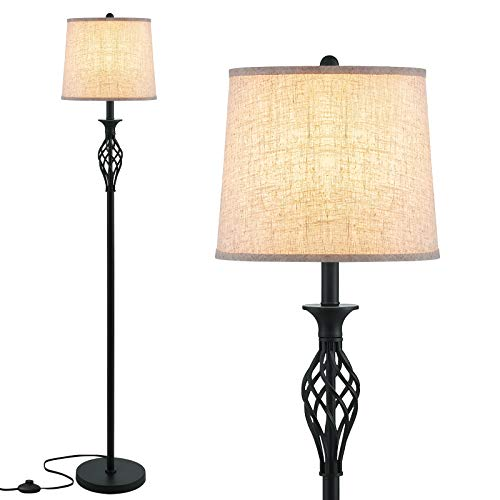 LED Floor Lamp, Ambimall Classic Standing Lamp with Twist Design, Vintage Tall Pole Lamp for Bedroom Living Room Kitchen Office Dinning Room Reading, Rustic Upright Floor Light for Home Decor