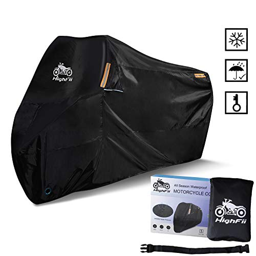 "HighFii Motorcycle Cover All Season Waterproof 300D Premium Bike Cover Fits up to 104"" XXXL"