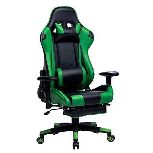 WOLTU Gaming Stuhl Racing Stuhl Bürostuhl Chefsessel Schreibtischstuhl Sportsitz mit Kopfstütze und Lendenkissen, Armlehne verstellbar, mit Fußstütze, Kunstleder, höhenverstellbar, Grün, BS14gn