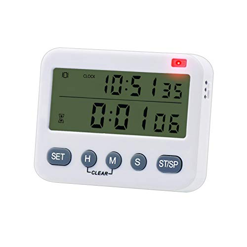 Timer da cucina digitale, timer da 100 ore con conto in su/giù, ampio display, vibrazione/torcia/allarme forte, orologio 24 ore e sveglia, supporto magnetico, per cucinare, sport, giochi e ufficio