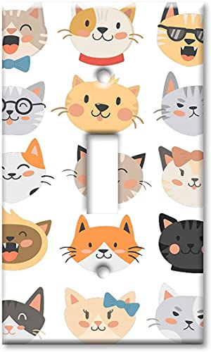 Decorative light switch cover plate1-Gang Toggle OVERSIZE Switch Plate/OVER SIZE Wall Plate - Cute Cat Heads