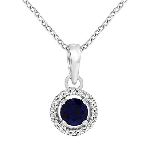 Natural Diamond Pendant 1/20 ct Blue Sapphire Halo Diamond Necklace 925 Sterling Silver I1-I2-HI Quality Pendant with Free Silver Chain