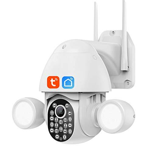 Jings Cámara de Seguridad inalámbrica para Exteriores, cámara de Reflector PTZ WiFi, visión Nocturna de 3 MP, Audio bidireccional, detección de Movimiento, cámara CCTV Impermeable