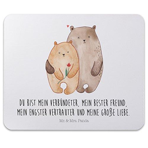 Mr. & Mrs. Panda Mousepad, Arbeit, Mauspad Bären Liebe mit Spruch - Farbe Weiß