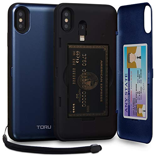 TORU CX PRO iPhone Xs Max Wallet Case Blue with Hidden Credit Card Holder ID Slot Hard Cover, Strap, Mirror & Lightning Adapter for Apple iPhone Xs Max (2018) - Navy Blue