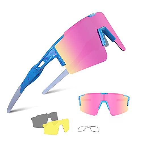 BangLong Gafas de sol deportivas polarizadas para bicicleta para hombre y mujer, protección UV400 con 3 lentes de recambio para ciclismo, correr, escalada, conducción, pesca, golf, senderismo