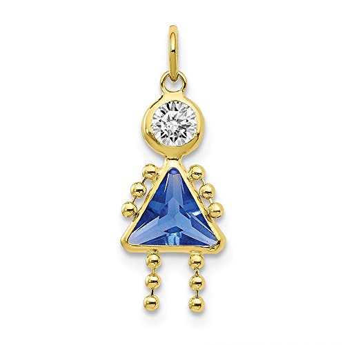 10k Yellow Gold September Girl Birthstone Pendant Charm Necklace Kid Fine Jewelry For Women Gifts For Her