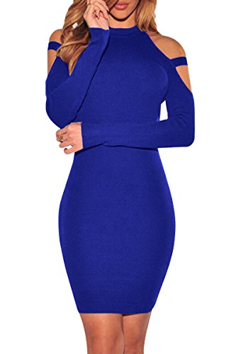 YMING Damen Kleid Rollkragen Etuikleid BusinessKleid Slim Fit Midi Kleid Bodycon Partykleid,Königsblau,M/DE 38