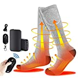 Heated Socks for Men and Women, 4000Ahm Large Capacity Socks with 3 Heating Settings, Electric Feet Warmer Socks for Outdoor Skiing Camping Running