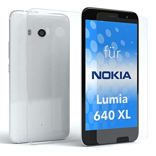 EAZY CASE Silikonhülle und Panzerglas im Set für Nokia Lumia 640 XL Dual Sim I Bildschirmschutzglas, Panzerglas nur 0,3 mm 9H Härte, Schutzhülle ultra dünn, TPU/Silikon Hülle, Backcover, Transparent / Kristallklar