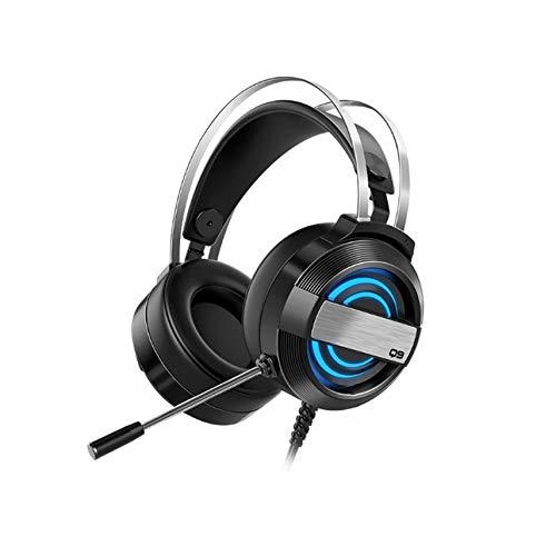 Iycorish Q9 Auriculares para Computadora con Montaje en la Cabeza Auriculares con Cable MicróFono para Juegos de Escritorio Auriculares para Juegos con