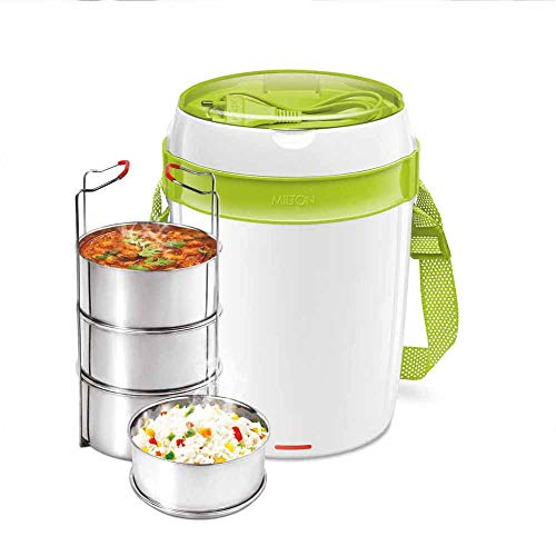 Milton Futron Stainless Steel Electric Lunch Box, 4 Containers, Green