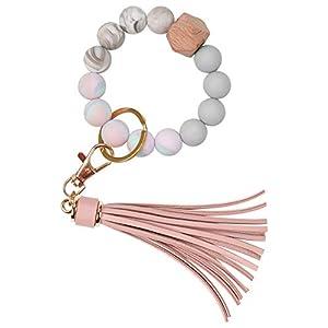 Silicone Key Ring Bracelet, Car Keychain Beaded Wristlet Tassel for Women and Girls