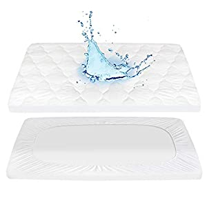 Pack N Play Mattress Pad Cover 100% Waterproof, 27″ X 39″ – Soft Fitted Baby Portable Mini Cribs, Graco Play Yards and Foldable Mattresses Pad Cover