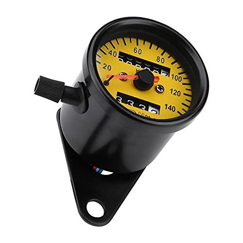 MEQNOIG Retroiluminación LED Universal para Motocicleta de 12 V, medidor de velocímetro de odómetro Doble para Motocicleta, Mini tacómetro Retro, Accesorio de Estilo de Ciclo automático