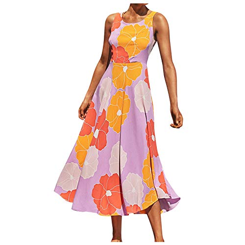 Wenhao, abiti da donna con stampa floreale, stile bohémien, abiti da spiaggia, abiti da spiaggia, ideali come regalo per matrimoni, anniversari, feste, club, spiaggia, spiaggia Blu M