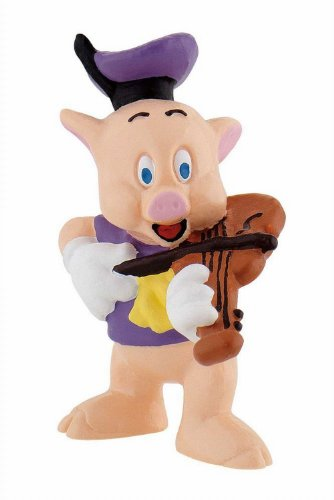 Bullyland 12491 - Figura de Juego, Walt Disney 3 cerditos, Violinista, Aprox. 6 cm de Altura, Figura Pintada a Mano, sin PVC, para Que los niños jueguen de Forma imaginativa
