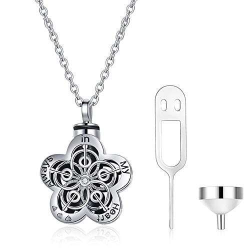 HEXL Cremation Jewellery Collana in Argento Sterling 925, Sempre nel Mio Cuore Urna Collana con Ciondolo in Cenere Fiore, Regalo ricordo Ceneri Commemorative