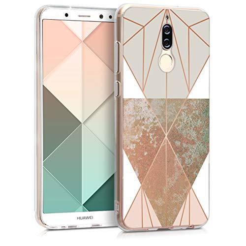 kwmobile Hülle kompatibel mit Huawei Mate 10 Lite - Handyhülle - Handy Hülle Glory Dreieck Beige Rosegold Weiß