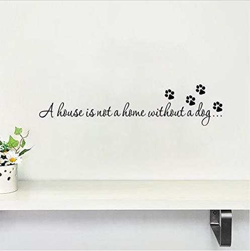 AZLIXLH La casa no está en casa sin un Perro Paw Imprimir Pegatinas de Pared para la Sala de Estar del Dormitorio Etiquetas engomadas del Curso Wallpaper DIY Art Decor 3 Unids