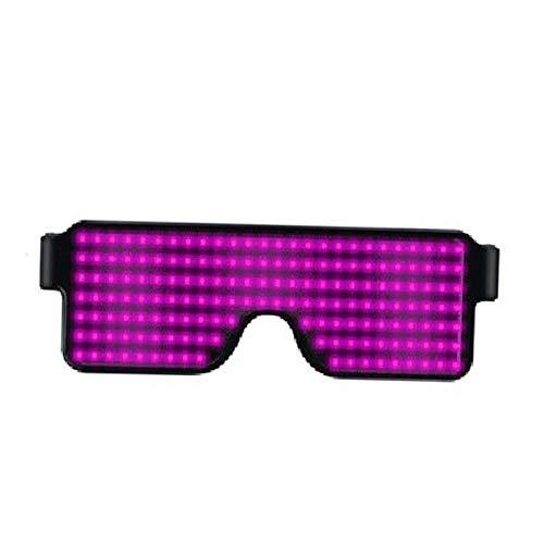 porfeet Gafas Luminosas con Luz LED, 10 Modos Recargables, Lentes Electrónicos para Fiesta, Carnaval, Utilería Rosa