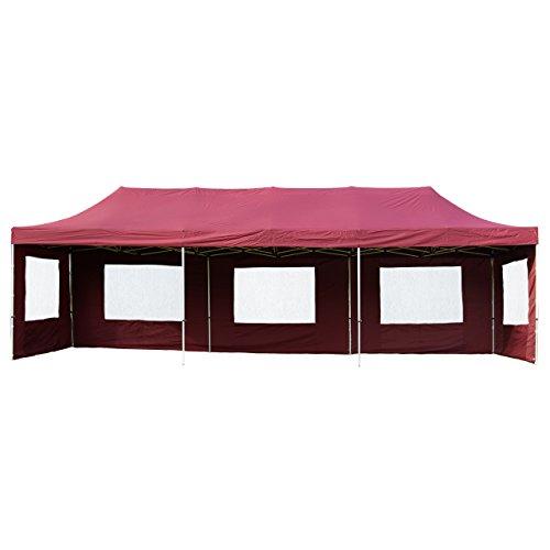 Nexos Profi Faltpavillon Partyzelt Pavillon 3x9 m mit Seitenteilen - hochwertige Ausführung - wasserdichtes Dach mit PVC-Coating - 270 g/m² incl. Tragetasche und Zubehör – Farbe: