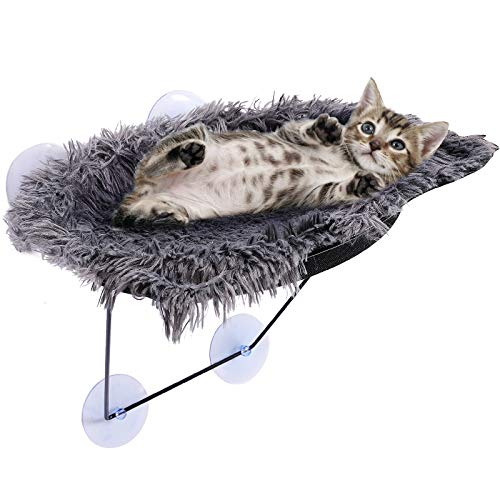 ShellKingdom Cat Window Perch, Lovely Cat Window Hammock with Cushion,Cat Resting Seat Perch for 360 Degree Sunbathing and Landscape