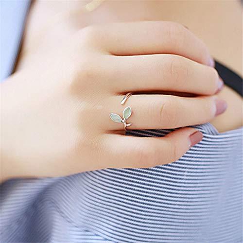 Weisin Leaf Eröffnung Verstellbarer Ring mit künstlichen Edelstein Dekoration Pflanze Ring Schmuck für Jubiläum Ehering Verlobungsring Braut