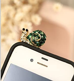Big Mango Cute Crystal Rhinestone Snail Anti Dust Plug Stopper / Ear Cap / Cellphone Charms for Apple iPhone 5 5c 5s iPhone 4 4s ,iPad Mini iPad 2 ,iPod Touch 5 4,Samsung Galaxy S3 S4 Note3 Note 2,HTC and Other 3.5mm Earphone Jack Phones ( Green )