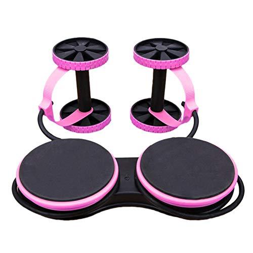 Buiktrainer Power Roll Trainer – dubbele rollentrainer AB Core Sport buikspiertrainer multifunctioneel voor thuis, voor mannen en vrouwen Roze
