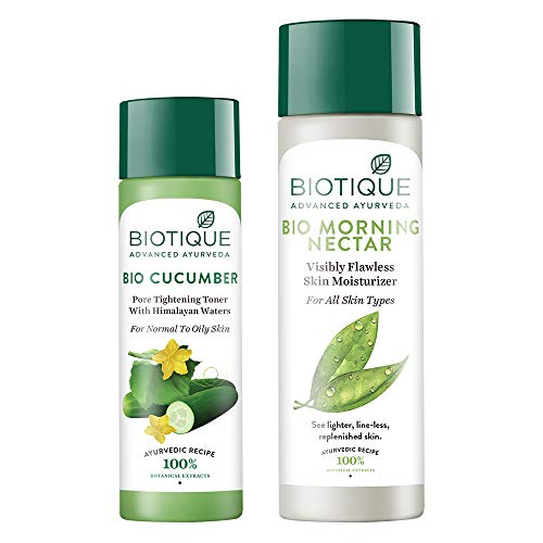 Biotique Bio Cucumber Pore Tightening Toner, 120ml and Biotique Morning Nectar Flawless Skin Lotion for All Skin Types, 190ml (Pack of 2)