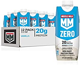 Muscle Milk Zero, 100 Calorie Protein Shake, Vanilla Crème, 20g Protein, 11 Fl Oz, 12 Pack (Packaging May Vary)