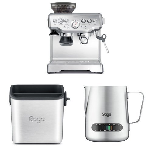 Sage by Heston Blumenthal the Barista Express Coffee Machine and Grinder with Mini Knock Box and Temp Control Milk Jug bundle