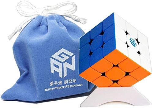 Ganspuzzle GAN354 M V2 Magic Cube GAN 354 M V2 Mejora Discovery Version 3x3x3 Magic Cube Speed Twist Puzzle Cube Toy con GES y un Soporte para Cubos y una Bolsa para Cubos Stickerless