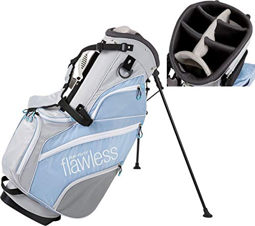 2019 Top-Flite Womens Flawless Golf Stand Bag 7-Way Top 7 Pockets Beverage Cooling Pocket (Gray/Blue)