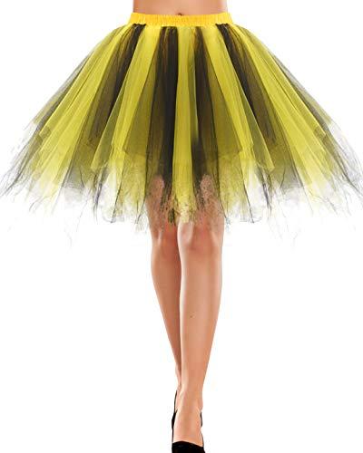 baratos y buenos Bbonlineress Falda De Tul Mujer Falda Corta De Tutú Mini Vestido De Ballet Negro Amarillo M. calidad