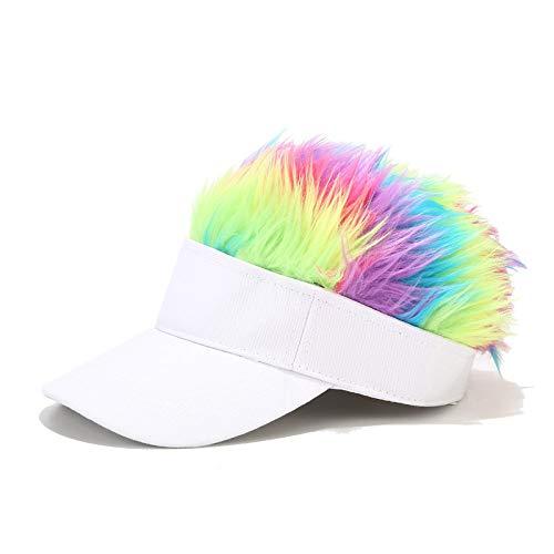 ZWXDMY Snapback Cap,Perruque Colorée Wide Edge Sport Sun Cap Réglable Respirant Snapback Caps Outdoor Coupe-Vent Sunbonnet Unisexe Hip Hop Hat pour Été Camping Voyage Cadeau-Blanc