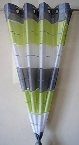 AeMBe - Ösen Vorhang Halbtransparent - SET - Top Design - Modern - 2 Vorhänge in 1 pack - Grün / Weiß / Grau - Höchste Qualität