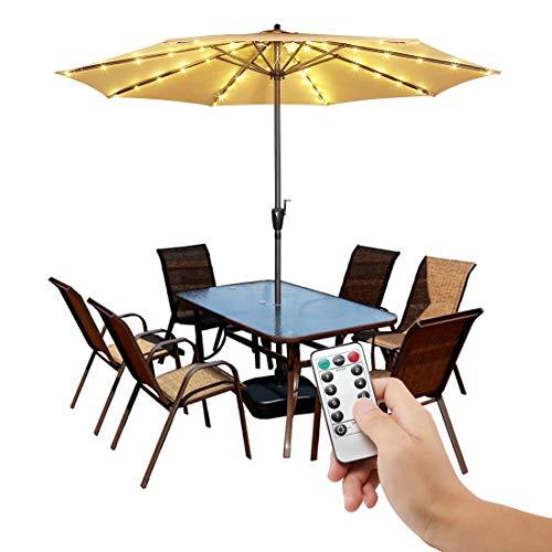 Guirnalda de luces para sombrilla de patio con mando a distancia, 8 modos de brillo LED, luz inalámbrica, funciona con pilas, resistente al agua, para sombrilla al aire libre, decoración de ja